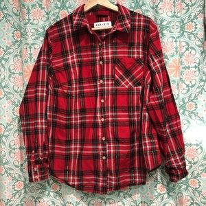 Ava and Viv Red Plaid Button Down